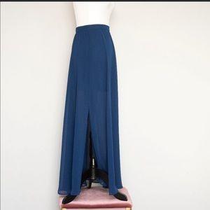 Vero Moda Blue Sheer Maxi Skirt w/ Mini Underlay